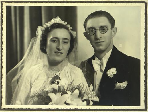 Huwelijksfoto van Charles Grabiner en Debora Brandstädter. Kazerne Dossin