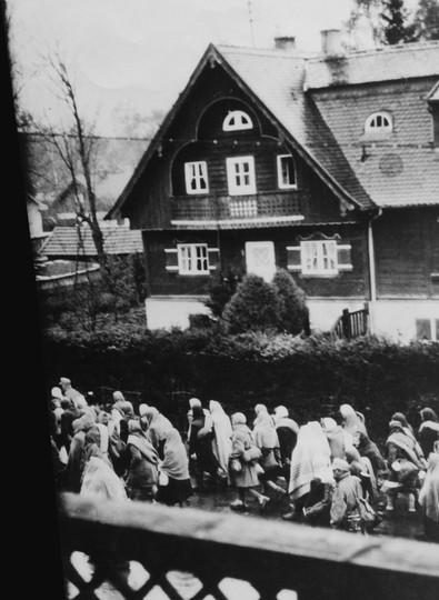 In januari evacueren de nazi's Auschwitz-Birkenau omdat de Sovjettroepen in aantocht zijn. Wie fysiek nog kan, moet naar andere kampen marcheren in zogenaamde 'dodenmarsen'. Publiek domein